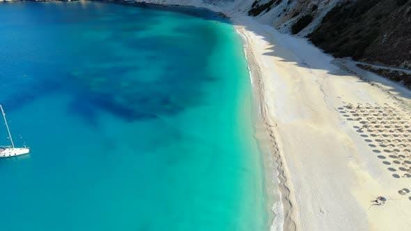 Aerial View of Myrtos Beach on Sunny Day, Kefalonia, Greece