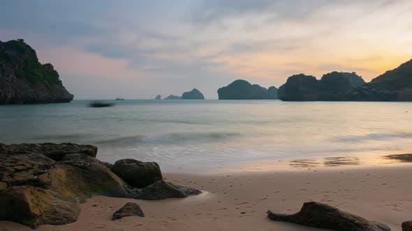 Thumbnail for Time lapse Cat Ba tropical beach romantic sunset dramatic sky Ha Long Vietnam