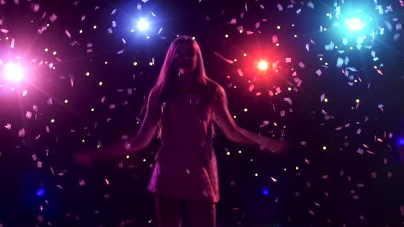 Thumbnail for Silhouette of Dancing Girl with Disco Style Lights and Confetti