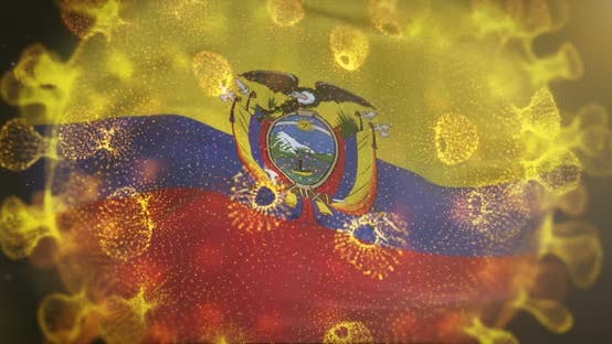 Ecuador Flag With Coronavirus Microbe Centered