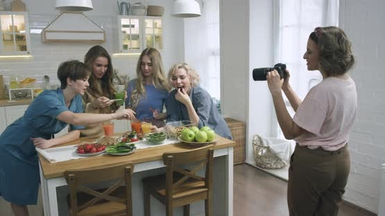 Friends Creating a Food Blog Video
