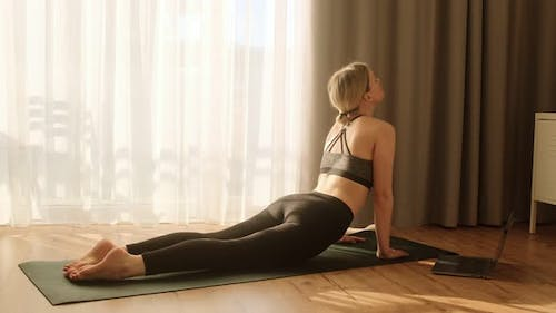 Woman doing yoga plank and pose online lessons with instructor on laptop.