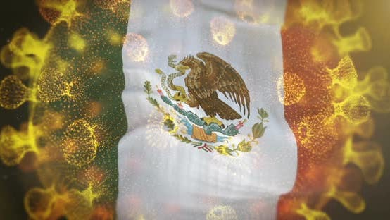 Mexico Flag With Coronavirus Microbe Centered