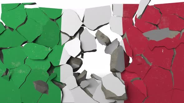 Thumbnail for Breaking Wall with Painted Flag of Italy