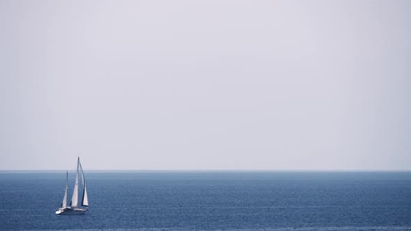 Thumbnail for Scene with Sky, Sea and Sailing Yacht