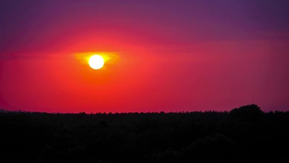 Thumbnail for Sunset in the Purple Sky. Amazing Colors of the Setting Sun. Timelapse.