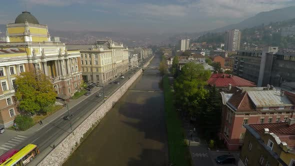 Thumbnail for Aerial of the river and Sarajevo University building