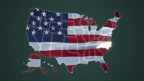 North Carolina Federal State Blinking Red Highlighted in Map of USA