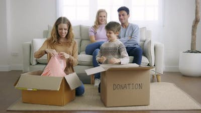 Children Keeping Things in Cardboard Box