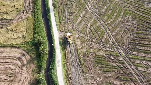 Aerial view follow harvester
