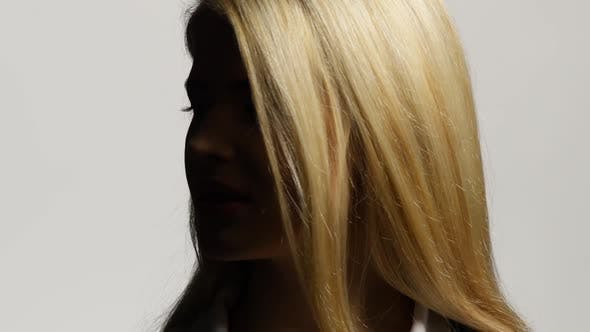 Thumbnail for Blond Female Model with Her Long Hair. White