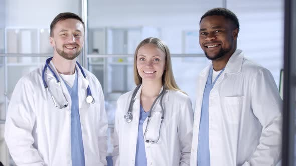Thumbnail for Multicultural Male and Female Doctors Posing at Work and Smiling