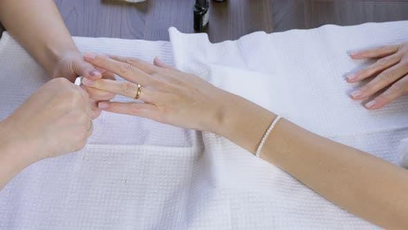 Trimming Nail Skin Follicles.