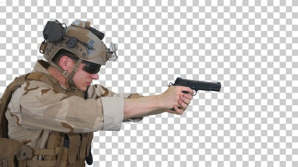 Thumbnail for Soldier aiming and shooting with a pistol, Alpha Channel