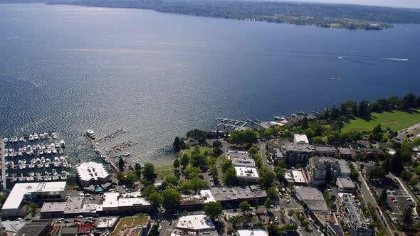 Thumbnail for Pacific Northwest Lake Washington Aerial Over Kirkland