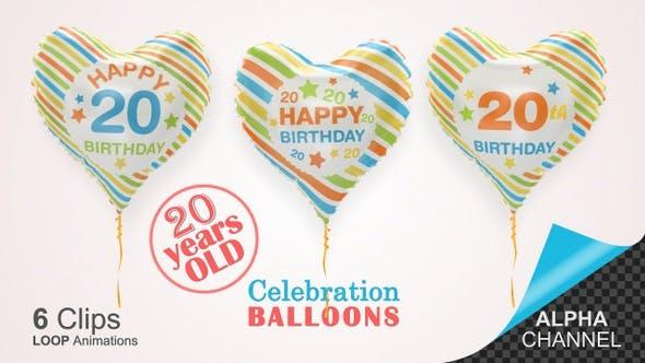 Thumbnail for 20th Birthday Celebration Helium Balloons / Twenty Years Old