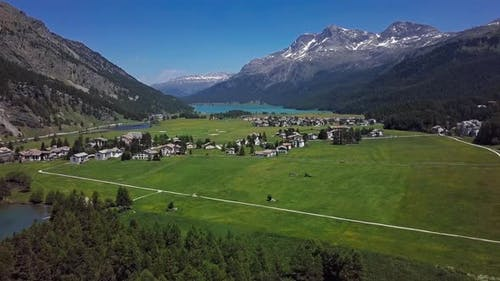 Aerial View of Engadin and Silvaplana, Switzerland