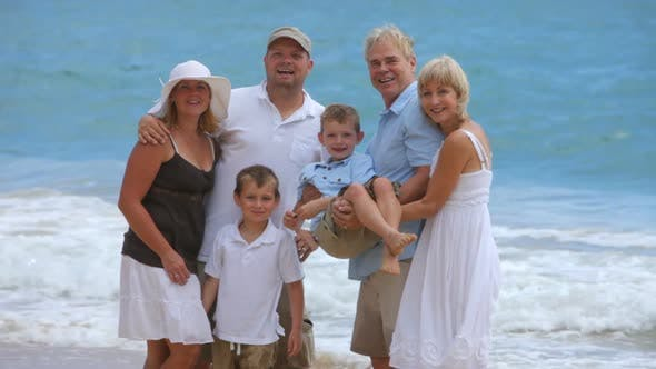 Thumbnail for Portrait of multi-generation family at beach