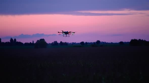 Silhouette Of A Drone At Night