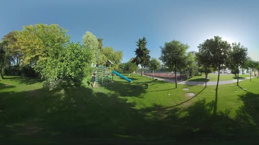 360 VR Active Leisure of Child and Dad. Fun on Playground Near the Hotel