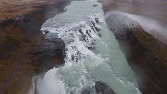 Thumbnail for Aerial Gullfoss Waterfall In Iceland