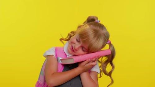 Tired School Girl Yawning Sleepy Inattentive Feeling Somnolent Lazy Bored Gaping Lack of Sleep