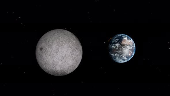 Thumbnail for Moon and Earth Planet Moving in Dark Space Sky