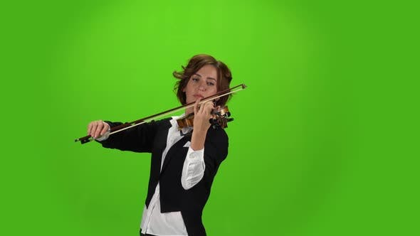 Girl in the Jacket Plays the Violin