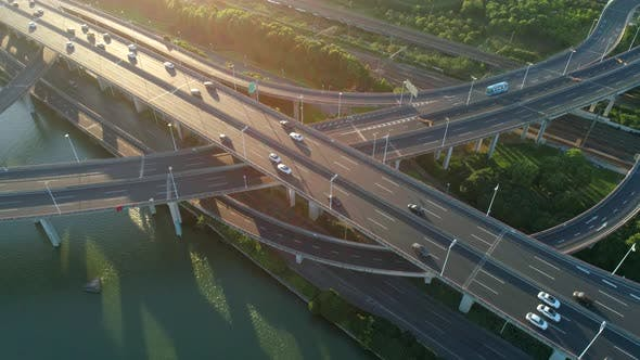 Thumbnail for Aerial Drone View Highway Multilevel Junction Road Moving Car Sunset