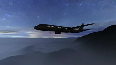 Aircraft on Night Sky
