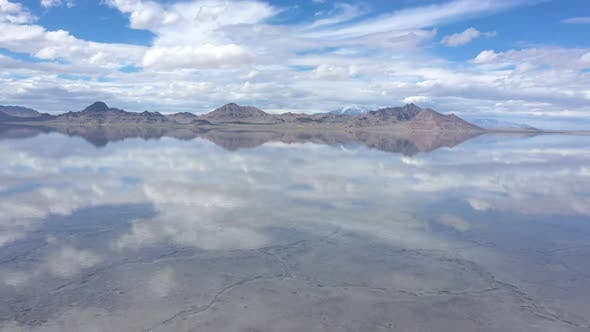 Thumbnail for Reflection of clouds in water over the Bonneville Salt Flats