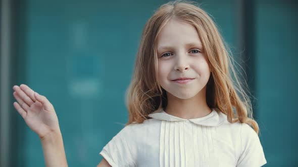 Thumbnail for Portrait of Cute Little Girl with Long Golden Blonde Hair and Blue Eyes, Standing Looking at Camera