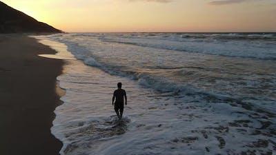 Walking Beach Sunset