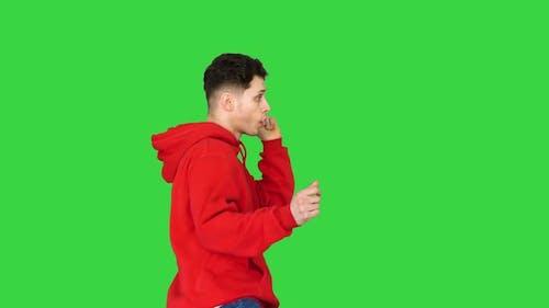 Young Hip-hop Man Break Dancing Top Break Dance on a Green Screen, Chroma Key
