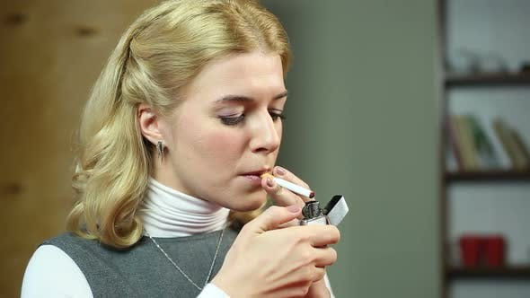 Thumbnail for Business Lady Lighting a Cigarette, Smoking at Working Place, Health Problems