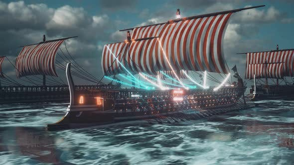 Thumbnail for Trireme Ancient Greek And Roman War Ships In Sea 4k
