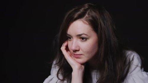 Woman thinking and meditating