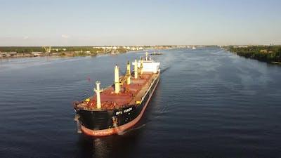 Cargo ship moving
