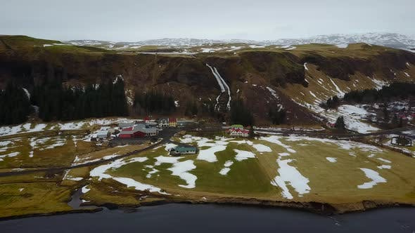 Thumbnail for Aerial view of Icelandic countryside and village.