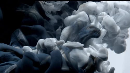 White Color Paint Ink Drops in Water Slow Motion Art Background with Copy Space. Inky Cloud Swirling