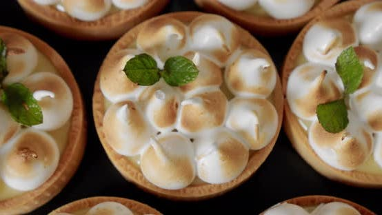 Thumbnail for Pastry Chef Decorates Biscuit Tartlet with Cream Close-up. Top View