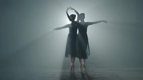 Thumbnail for Two Graceful Professional Ballerinas Dancing on Her Pointe Ballet Shoeses in Spotlight on Black