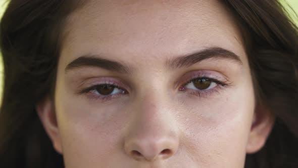 Thumbnail for Eye with Long Eyelashes, Makeup and Light Brown Eyebrow Close-up. Eyelash Extensions