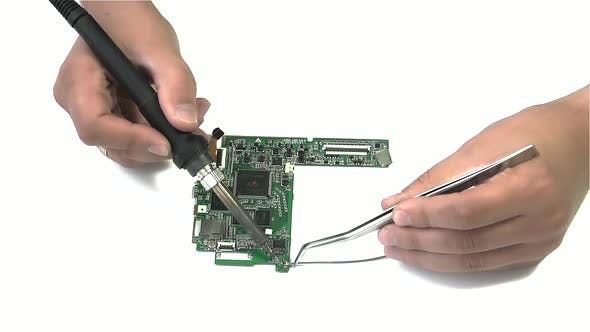 Wire Soldering on White Background