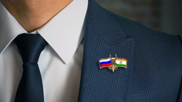 Cover Image for Businessman Friend Flags Pin Russia India