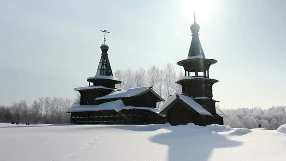 Thumbnail for Panorama (Top-Down) An Old Wooden Church On A Sunny Winter Day, Russia, Novosibirsk