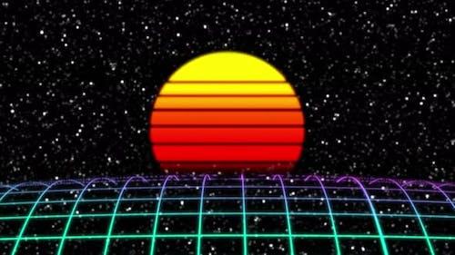 Retro Futuristic Scifi Night City Seamless Loop
