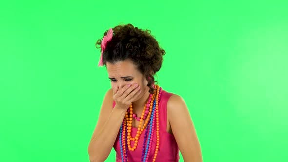 Thumbnail for Cute Female Feels Very Bad, Her Stomach Hurts, Feeling Nausea Against Green Screen at Studio