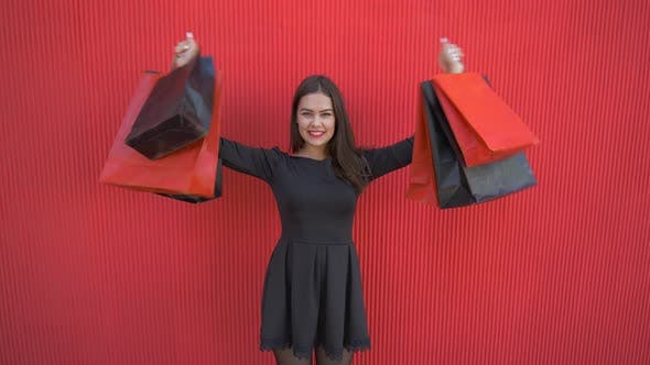 Thumbnail for Black Friday, Portrait of Happy Customer Girl with Purchases Into Shopping Bags During Sales Season