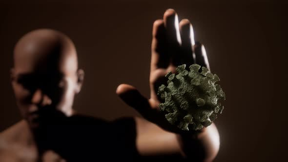 Thumbnail for Scared Man Gesturing Stop Afraid of Coronavirus COVID-19 Infection